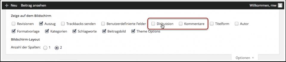 Wordpress Kommentare deaktivieren