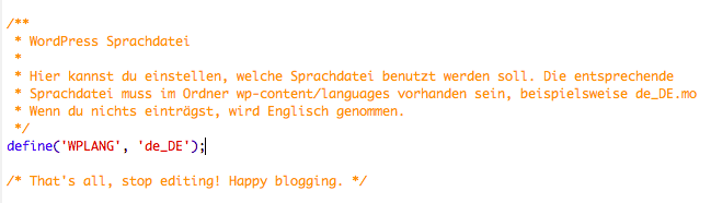 wordpress deutsch config.php
